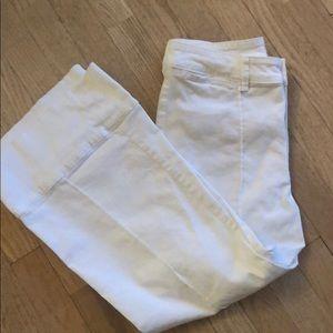CHNO by Anthropology White Capri flair pants.